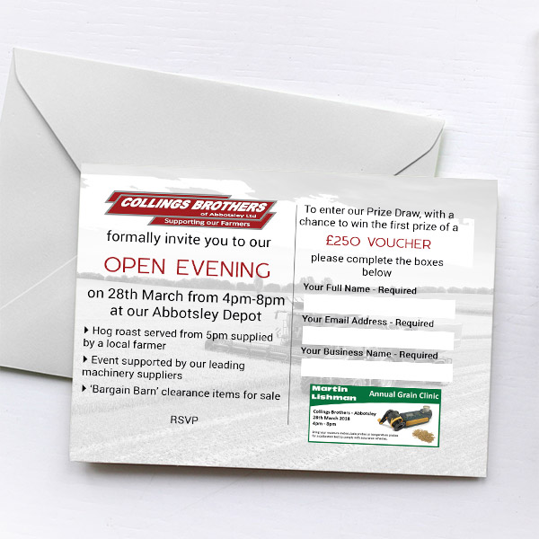 Collings Brothers Open Evening Invitations With Envelopes