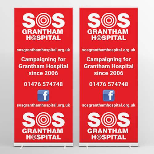 Web Design UK Business Printing SOS Grantham Hospital Roller Banners