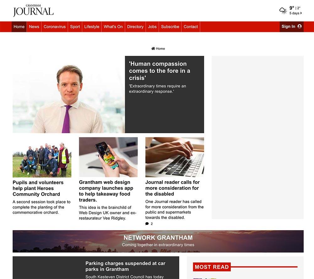 Web Design UK Covid19 Mobile App Offer In Grantham Journal