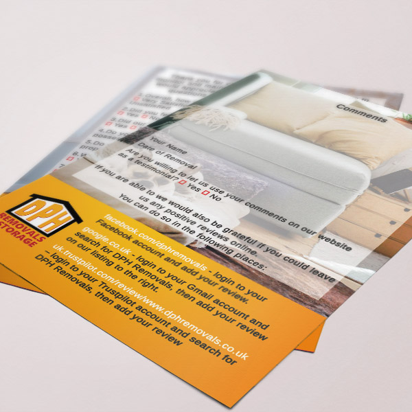 Web Design UK Business Printing DPH Removals Feedback Cards